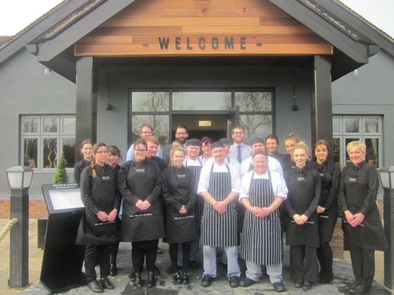 Staff at the Miller & Carter Steakhouse, Grantham.