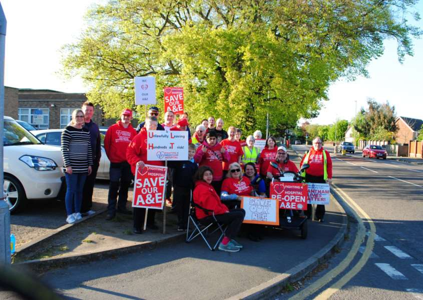 Hospital campaigners on their vigil in Manthorpe Road in protest at the closure of Grantham A&E overnight.