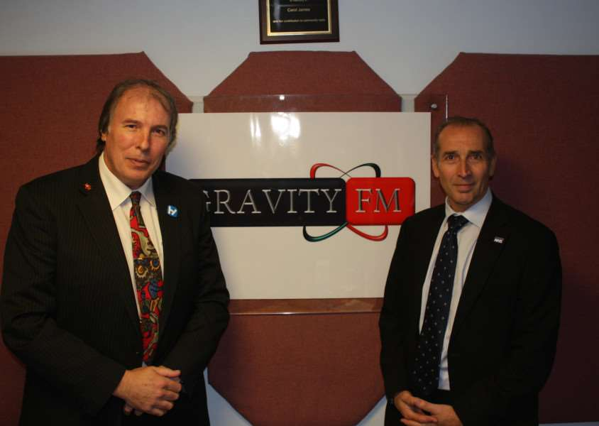 Gravity FM presenter Ian Selby and Chief Executive of United Lincolnshire Hospital NHS Trust Jan Sobieraj.