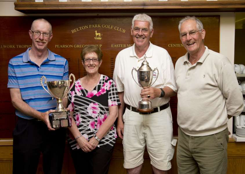 Pictured with Glenda Bly are winners, from left - Richard Claxton, Tony Davies and Keith Smith. Not pictured is Simon Pullen. Photo: Dean Fardell
