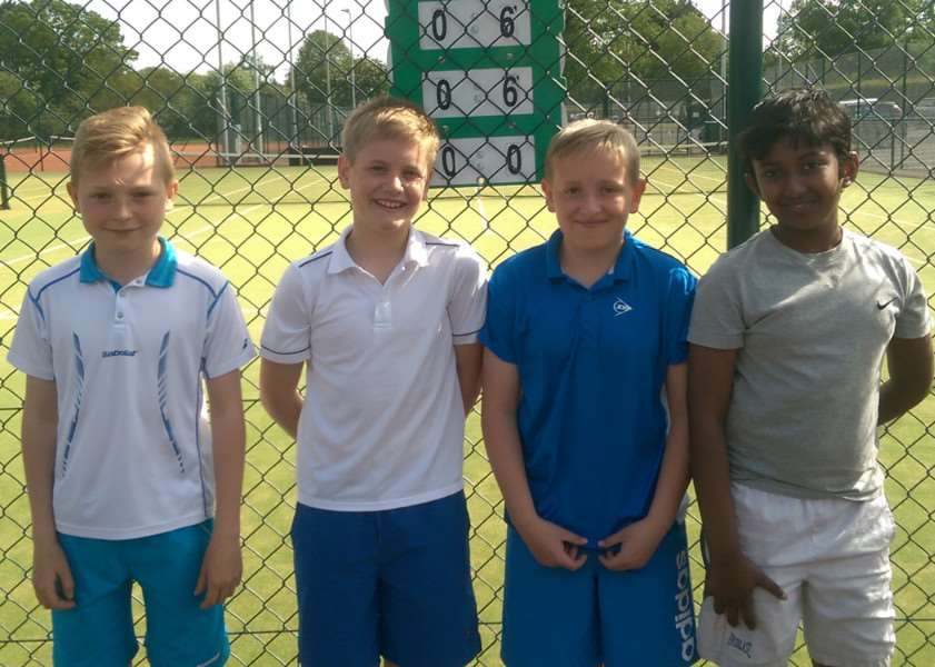 Grantham Tennis Club 12-and-under boys, from left - Jake Gibbons, Luke Griffin, Toby Yates and Nitesh Shyam.