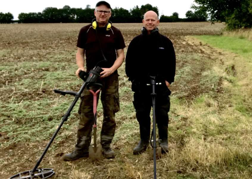 Metal detectorists Sean Scargill and brother-in-law Hugh Jenkins who discovered ahoard of 282 Iron Age coins at Riseholme near Lincoln.