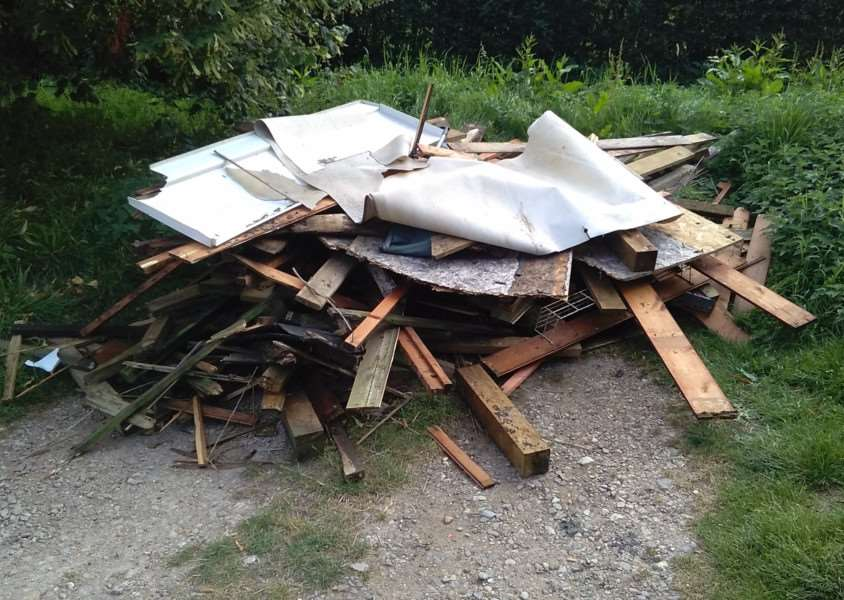 Fly-tipping at Londonthorpe Wood which is owned by the Woodland Trust.