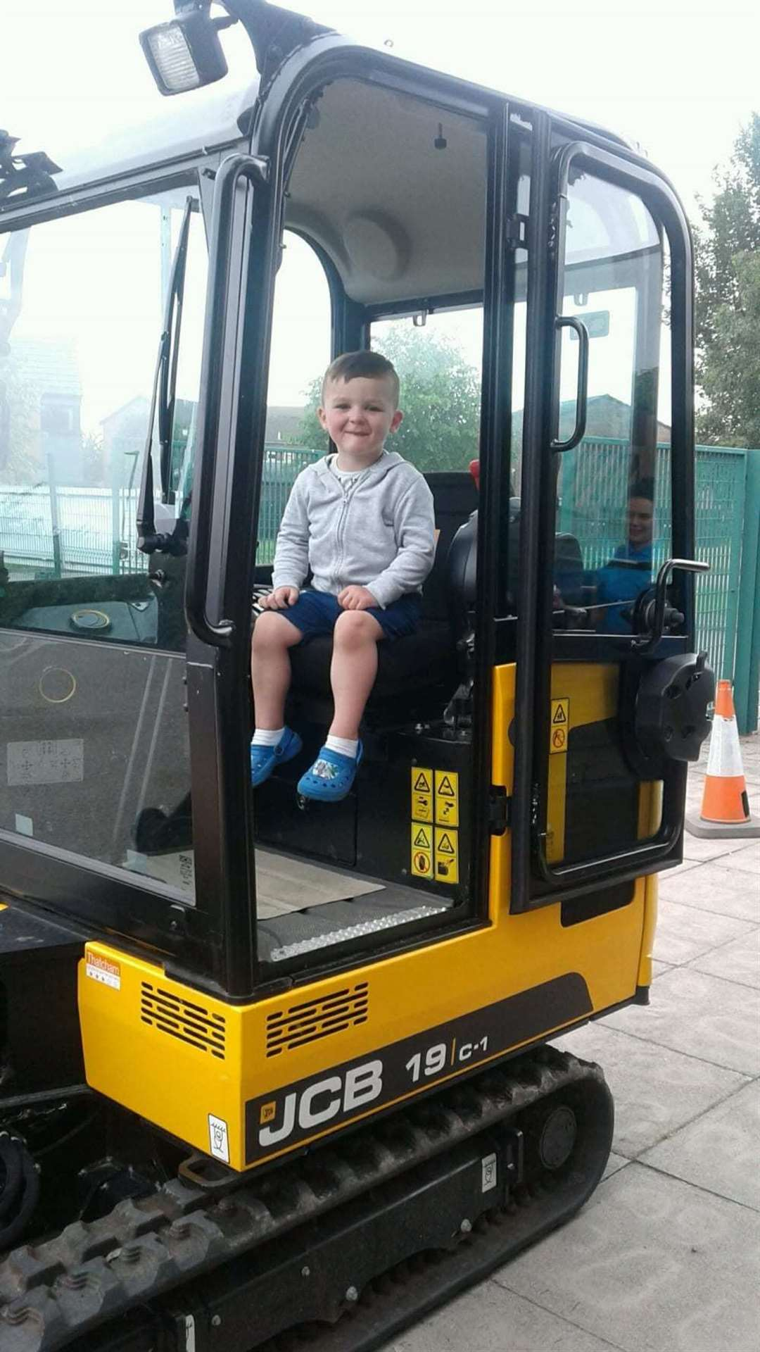 Youngsters explored the JCB digger on Monday. (13121672)