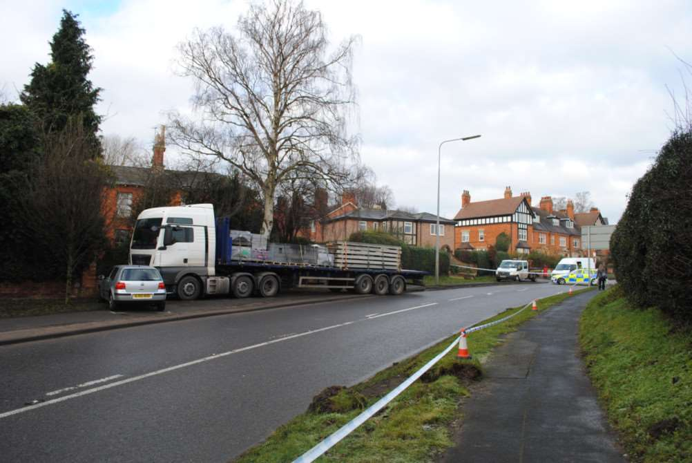 Lorry accident on Barrowby Road, Grantham.