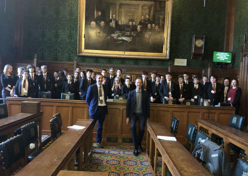 Charles Read Academy students with Principal Robert Sloan and MP Nick Boles in the Houses of Parliament.