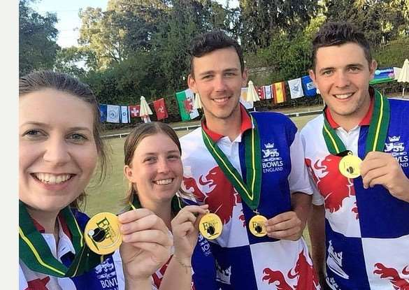 Ashley Caress (far right) celebrates with his England team-mates, Alex Walton (Cambridgeshire) Rebecca Field (Norfolk) and Amy Stanton (Worcestershire).