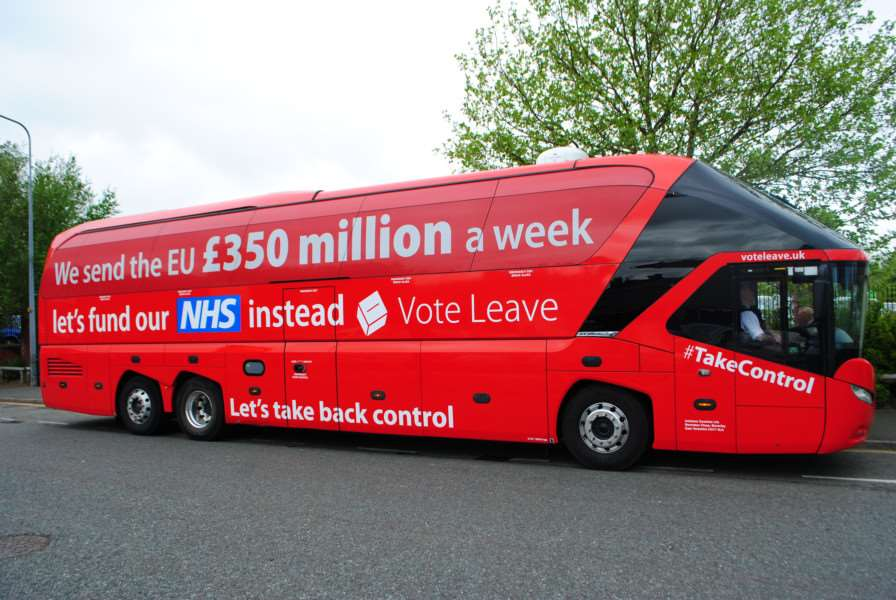 The Vote Leave battle bus on which Iain Duncan Smith visited Grantham.