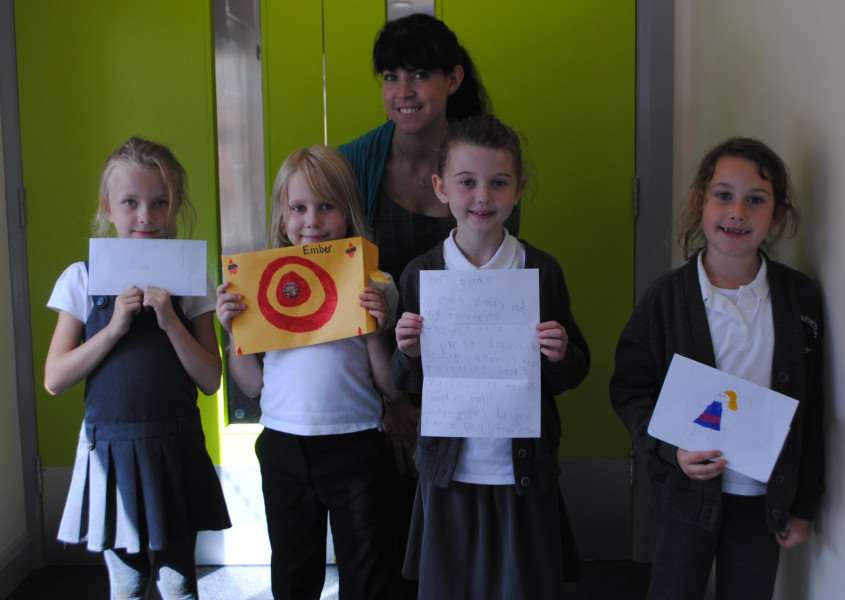 Year one teacher Rebecca Collishaw with year three pupils, from left, Olivia, Ember, Brooke and Victoria.
