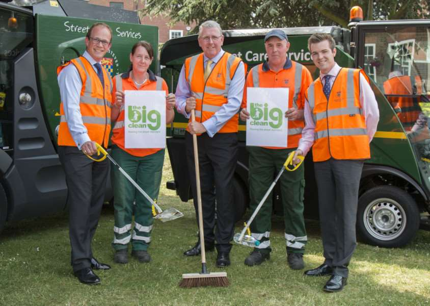Ready for the Big Clean are, from left, Leader of the Council Coun Matthew Lee, Sandy Gray, Coun Dr Peter Moseley, Rob King and Deputy Leader Coun Kelham Cooke. Photo supplied by SKDC.