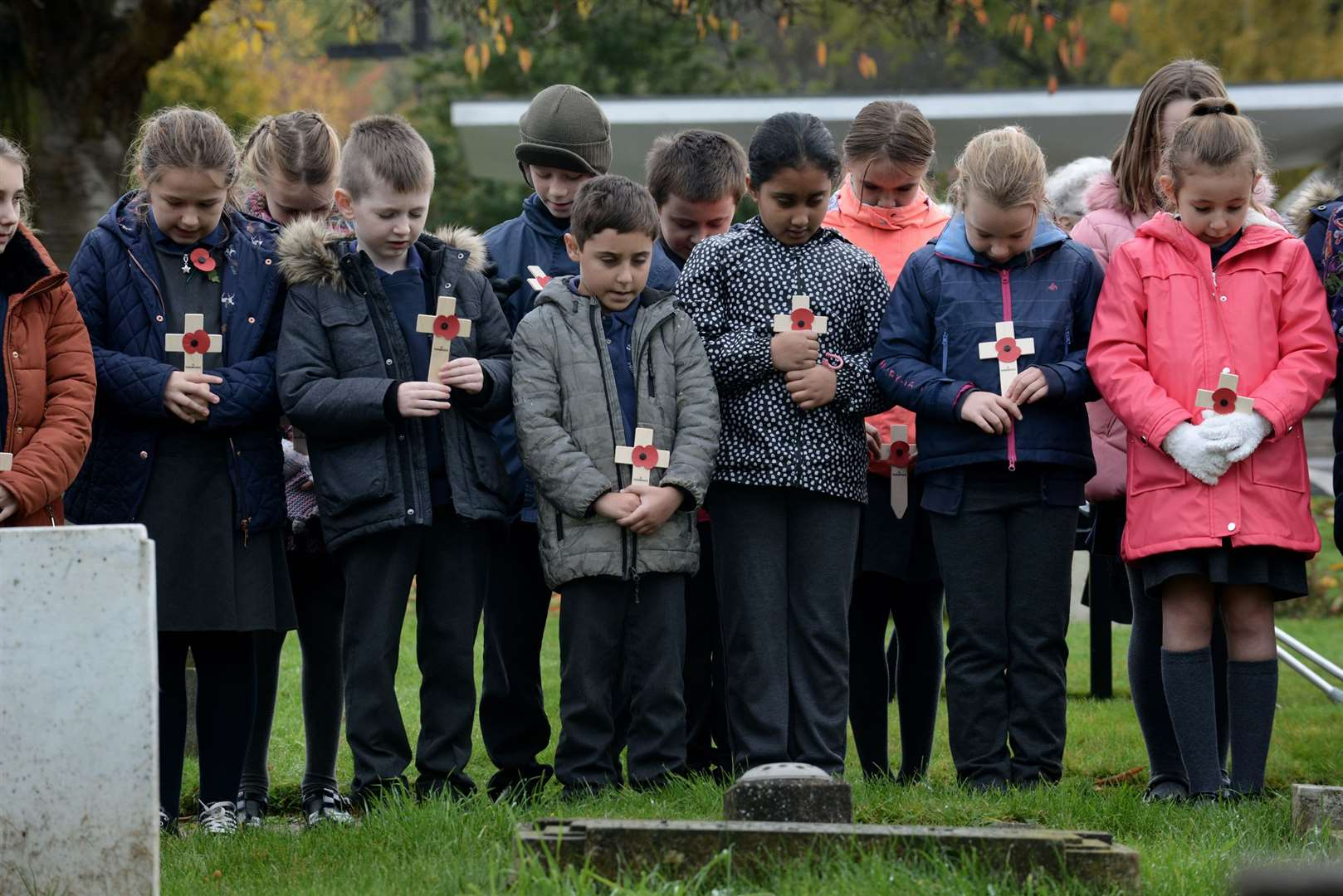 St Anne's Primary School children attend the annual Remembrance service at Grantham Cemetery. (21076457)