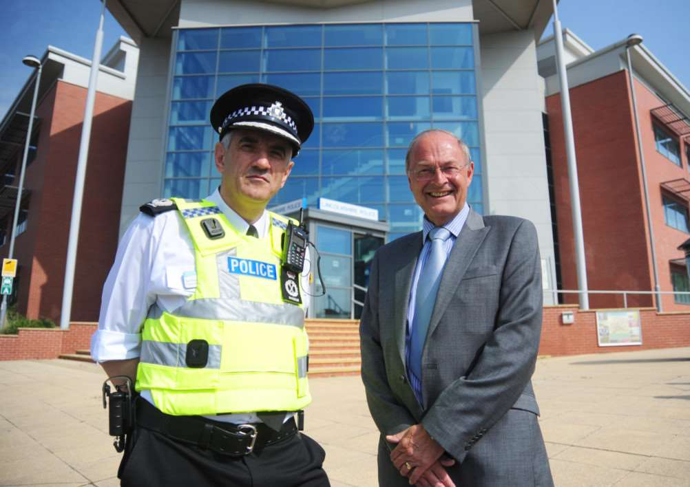 Chief constable Neil Rhodes with Police and Crime Commissioner Alan Hardwick