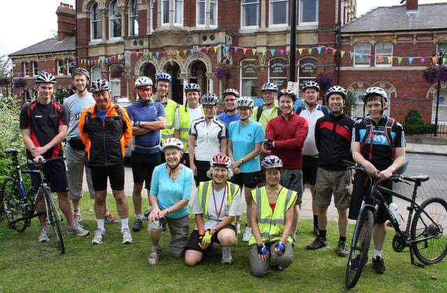 Members of the Queen Eleanor Cycle Ride in Grantham in 2015.