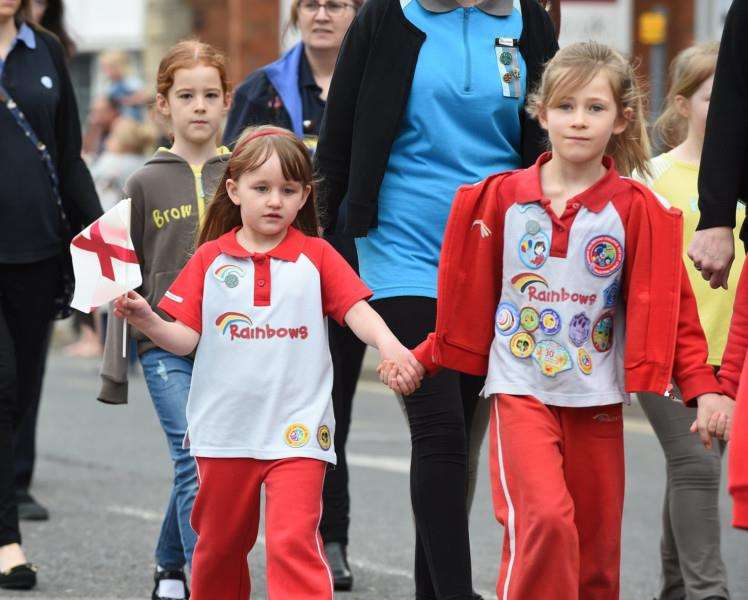 Rainbows in the St George's Day Parade in Grantham.