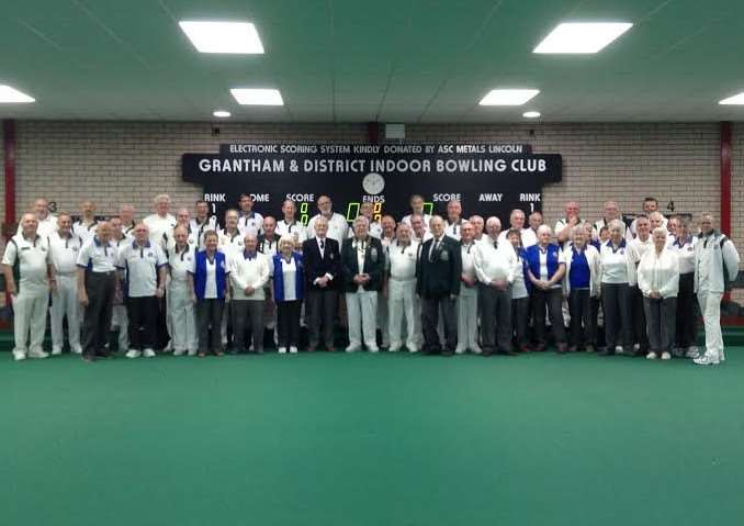 Grantham and District Indoor Bowling Club members and the Kent Touring Team.