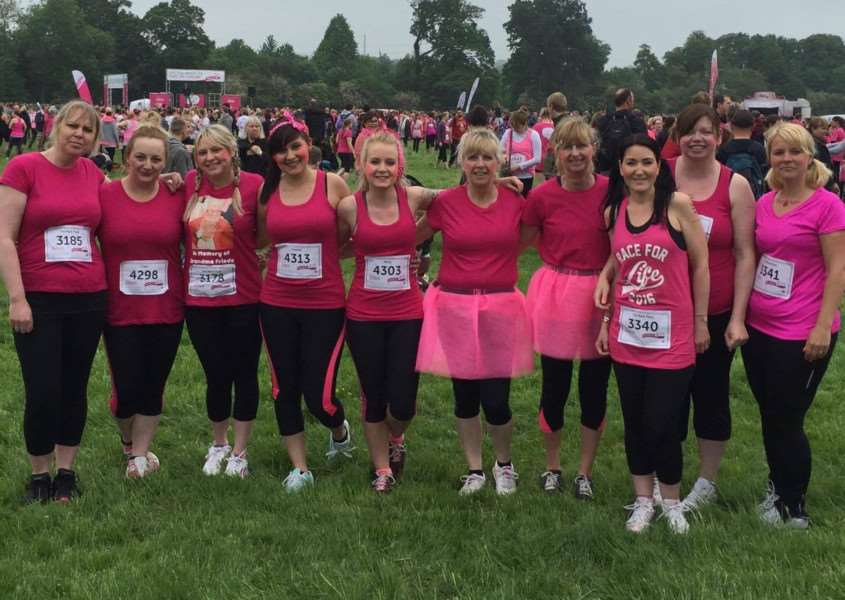 Doing the Race for Life are Leanne Earnden , Clare Lofthouse, Jessica Rogers, Charley Hranyczka, Molly Louks, Carole Measures, Elaine Dable, Charlotte Lound, Hayley Lound and Kathryn Larkin. Sam Robson also took part - she is not pictured.