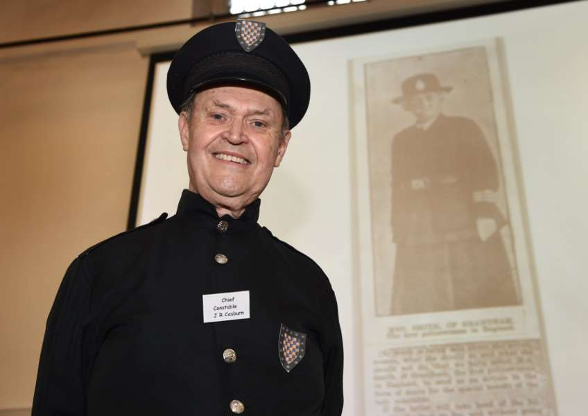 Courtney Finn, of Grantham Civic Society, dressed as the chief constable for Heritage Open Days when he gave a talk on Edith Smith, the first warranted policewoman, at the Old King's School.