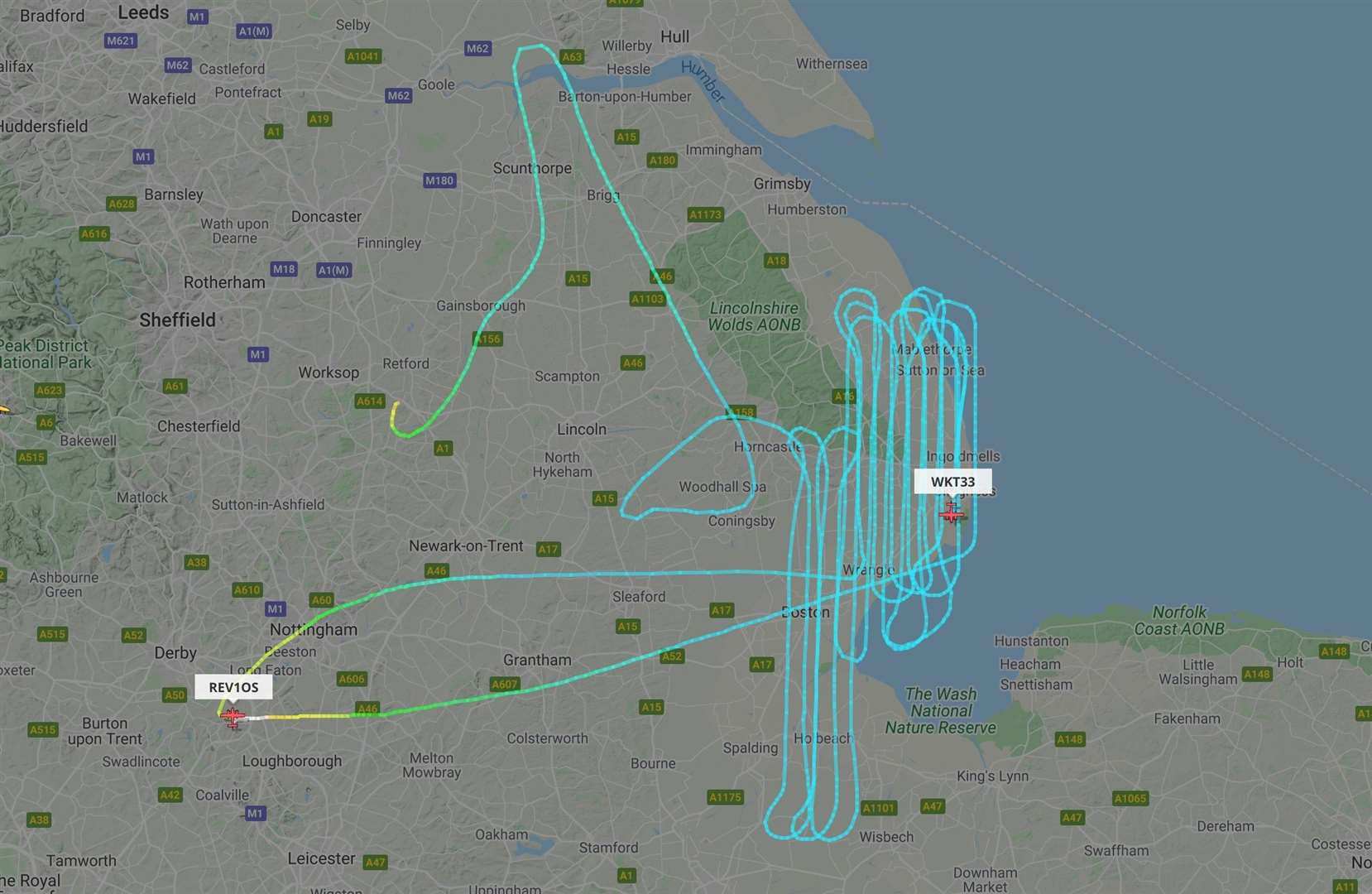 One of the survey flights over Lincolnshire. Picture flightradar24.com (33934604)