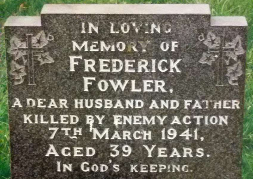 Frederick Fowler is buried in the churchyard of St Sebastian's in Great Gonerby.