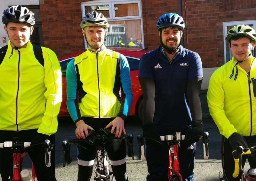Staff members from Grantham Additional Needs Fellowship are taking on the Land's End to John O'Groats challenge. They are Ollie Maltby, Ashley Caress, Toby Ellis, and Matthew Page. YmcDUIPIzvaSMNCJmhzm