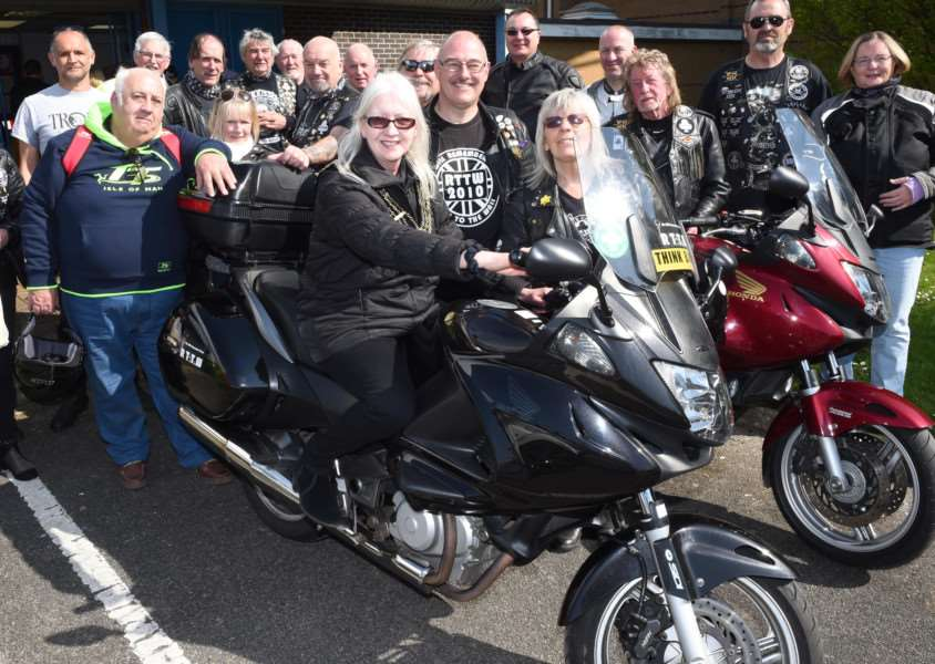 Mayor of Grantham Coun Linda Wootten meets bikers on their annual Easter run to The Meres leisure centre.