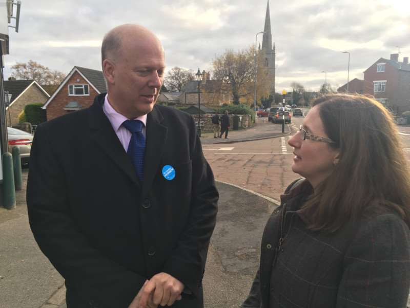 Transport Secretary Chris Grayling with by-election candidate Dr Caroline Johnson