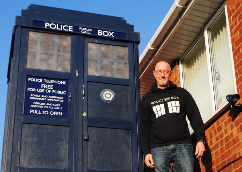 Dt Who fan Robert Atherton with his Tardis which he built on top of his garage in Grantham.