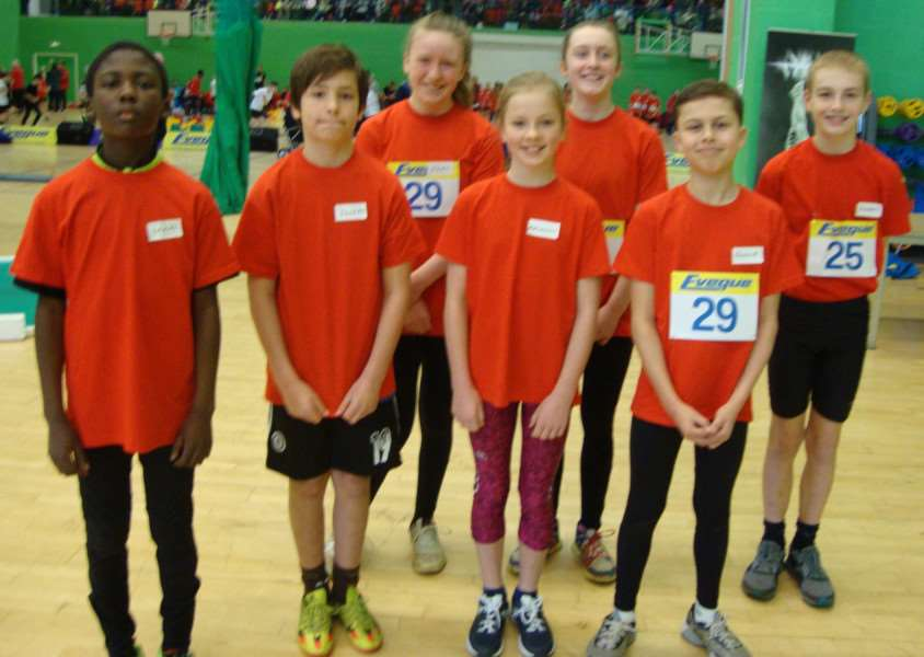 Grantham AC's Inter County Sportshall competitors are from left, back ' Mary Justice, Rachel Justice and Harry Denton; front ' Imam Abdulraham, Joseph Harris, Madalain Oates and Ronnie Davey.