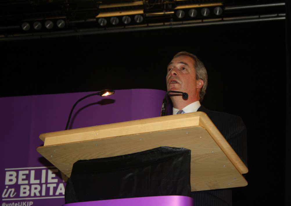 Nigel Farage, speaking in Boston.