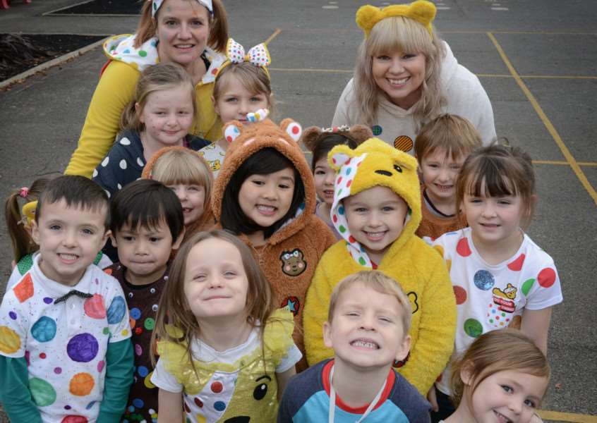 At Harrowby Infant School everyone made an effort to wear Pudsey inspired outfits to raise �126.