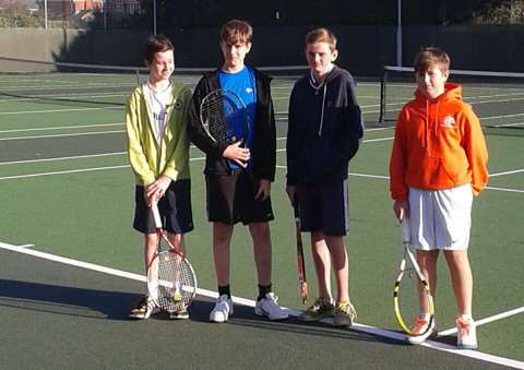 Grantham Tennis Club under-14s, from left - Matthew Jagger, Aidan Oliver, Henry Woods and Seb Newton.