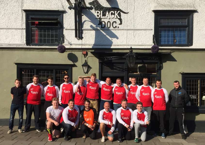 Colsterworth United outside their sponsor The Black Dog.