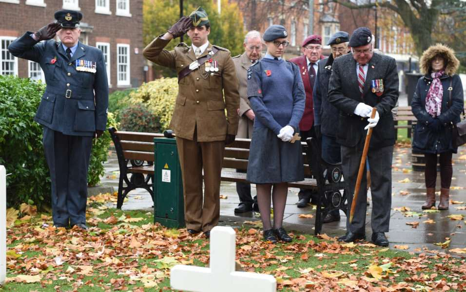 Paying their respects at the opening of the Garden of Remembrance in St Peter's Hill on Sunday.