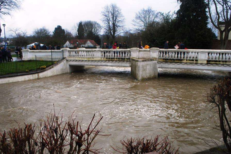 The river was high after all the bank holiday rain as could be seen under the White Bridge in Wyndham Park.