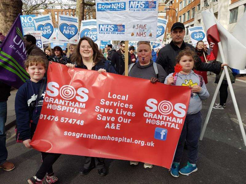 Members of SoS Grantham Hospital took part in the #OurNHS march.