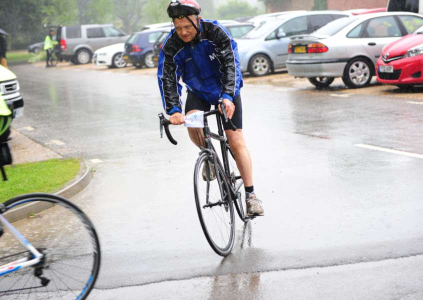 Riding through the rain in the Grantham Foodbank Cycle Fest.