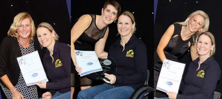 At their work awards night, Michelle, Emma and Tracey all met, and were inspired by, fund-raiser Claire Lomas.