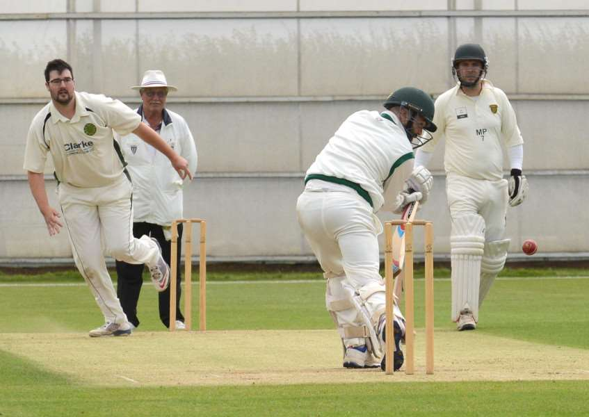 Rory Johnson on his way to 81 runs for Grantham 2nd at Gorse Lane on Saturday. Photo: Toby Roberts