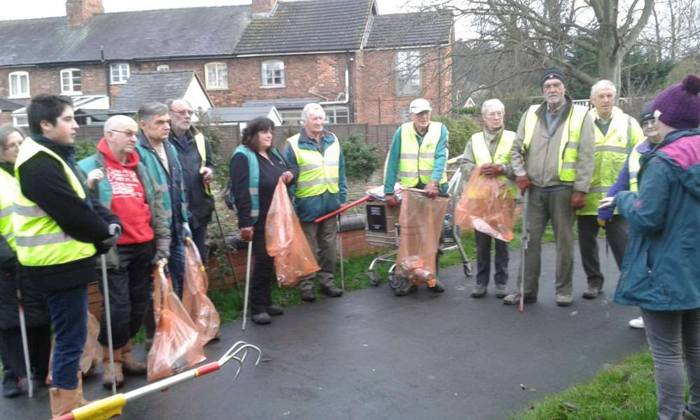 Members of Grantham Rivercare ready to tackle the Witham.