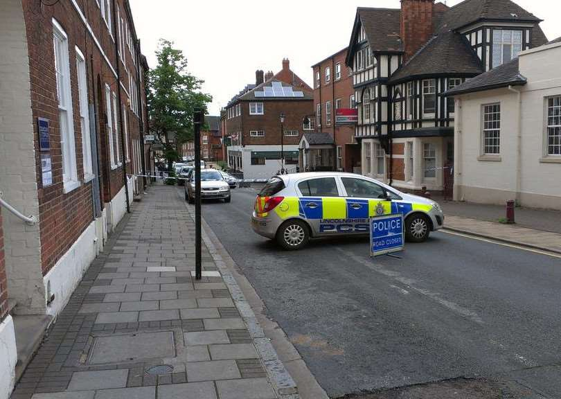 Police cordon off part of Castlegate in Grantham.