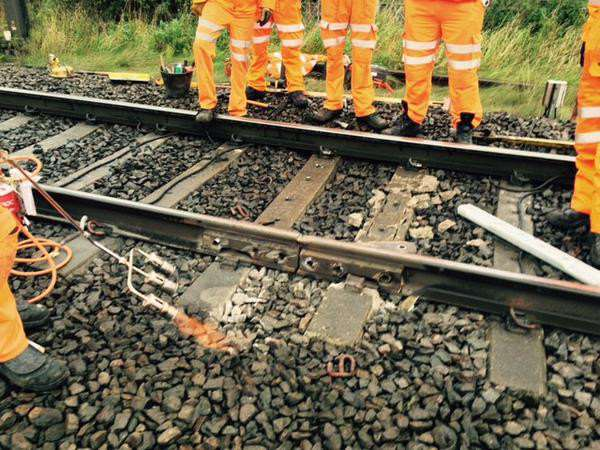 Network Rail engineers fix the defect near Grantham. Photo: Network Rail