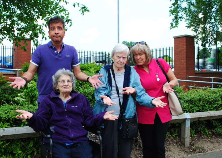 Disappointed: Senior Activites Co-ordinator Richard Geldard and Care Assistant Deborah Clarke with residents Margery and Cath need another knome by Monday.