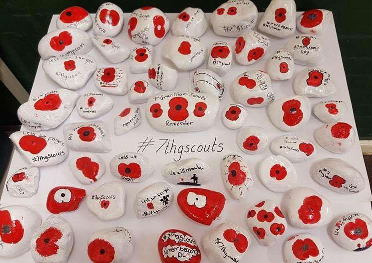 Poppy stones painted by 7th Grantham Scouts are hidden in locations across town and beyond