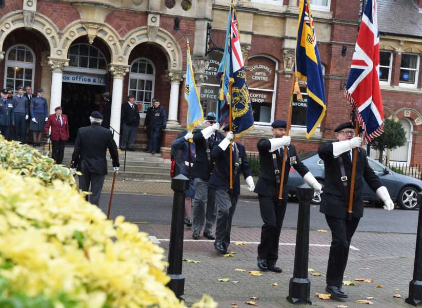 Standard bearers at the opening of the Garden of Remembrance on Sunday in St Peter's Hill.