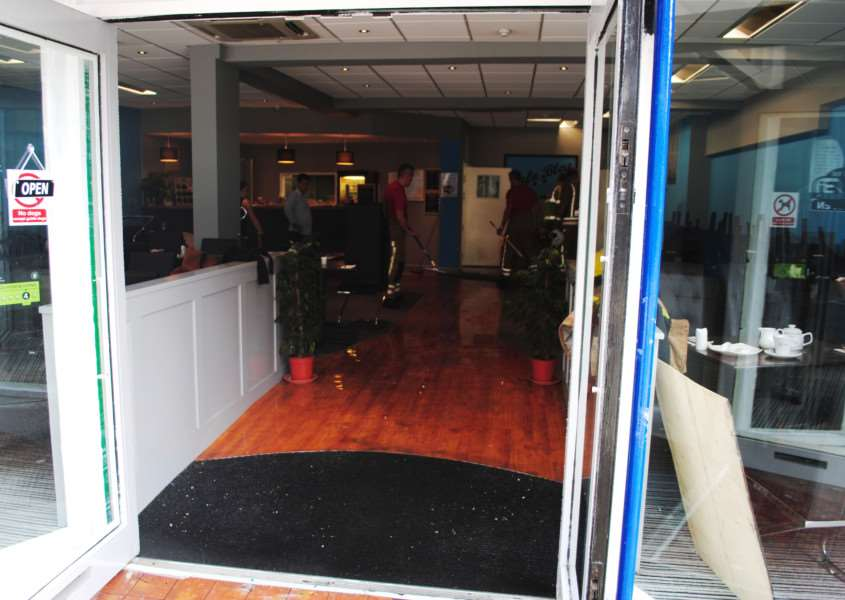 The dining area and kitchen of Cafe Bleu have flooded following a burst pipe.