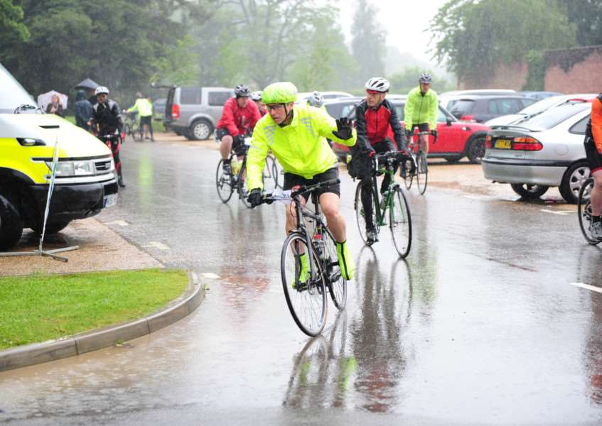 The rain continues to pour at the Grantham Foodbank Cycle Fest.