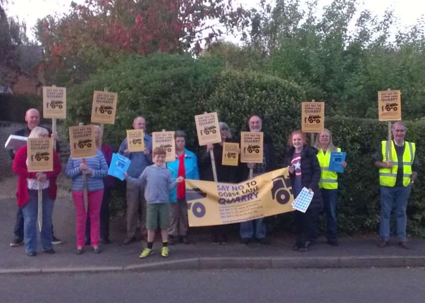 Gorse Lane Quarry Action Group out in force to protest against the plans. EMN-151203-172552001