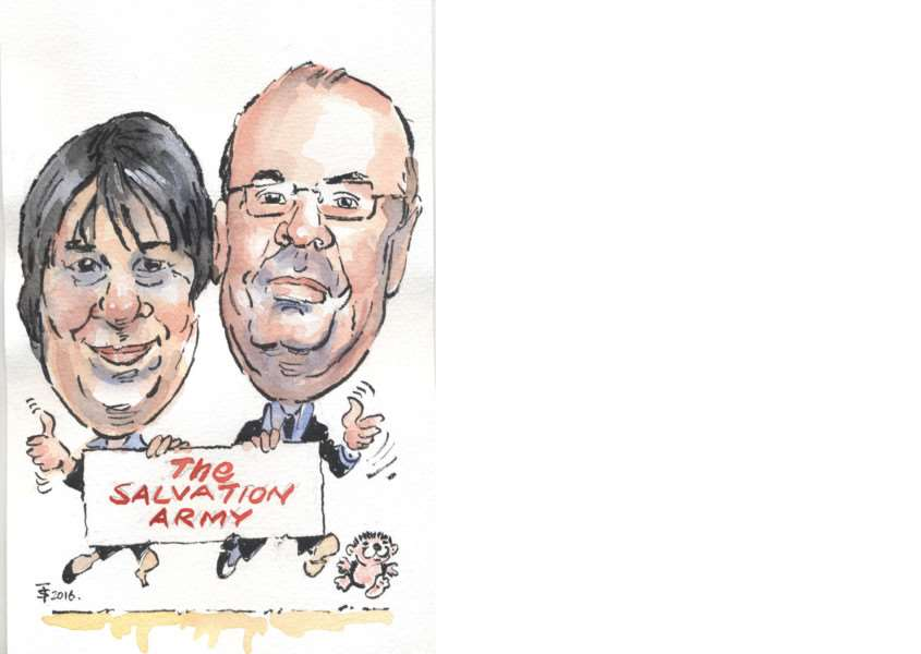 Dave and Dawn of The Salvation Army shop in Grantham. Caricature by Terry Shelbourne.