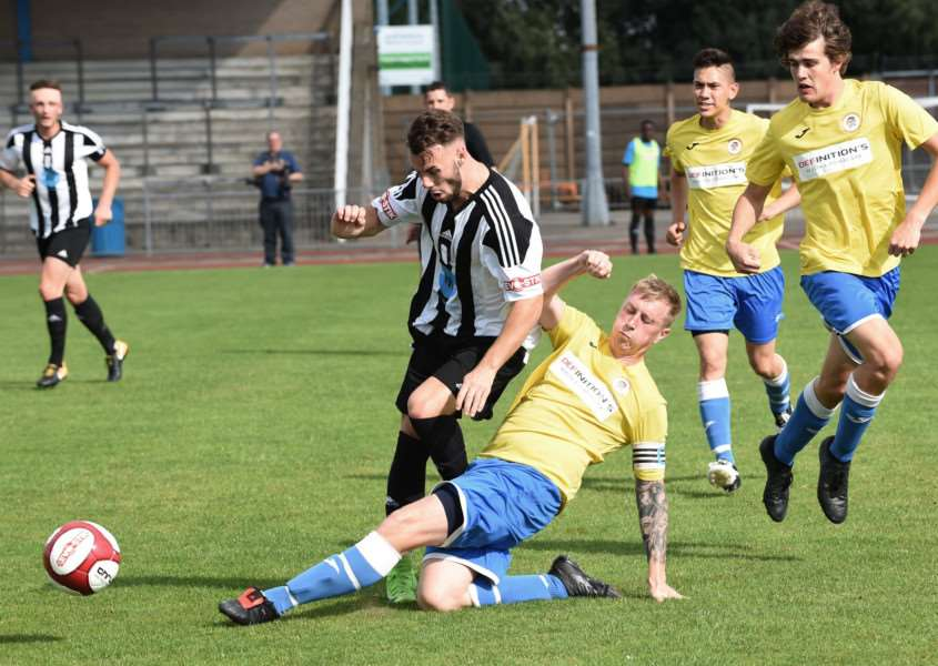 Holbeach captain Nick Jackson makes a challenge
