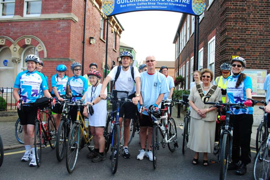 Members of the Queen Eleanor Cycle Ride at the unveiling of the Queen Eleanor plaque at the Guildhall in Grantham on August 29, 2015.